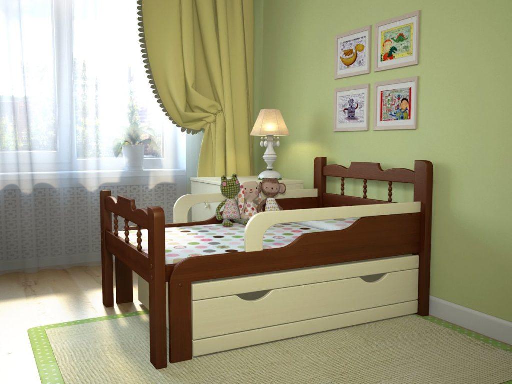 Растущая кровать с бортиками и выдвижными ящиками