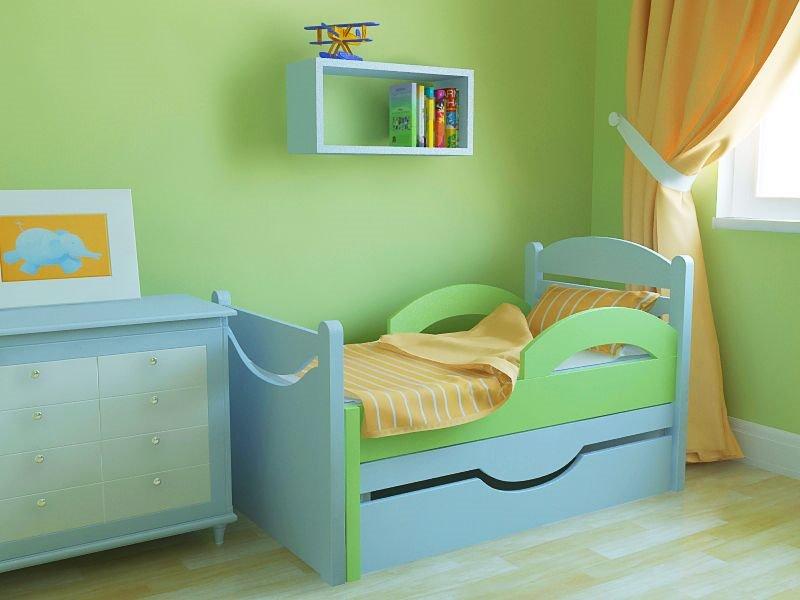 Фото голубой комбинированной детской раздвижной кровати