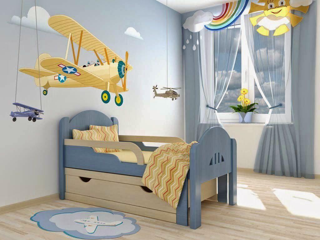 Выдвижная кровать для мальчика в интерьере комнаты