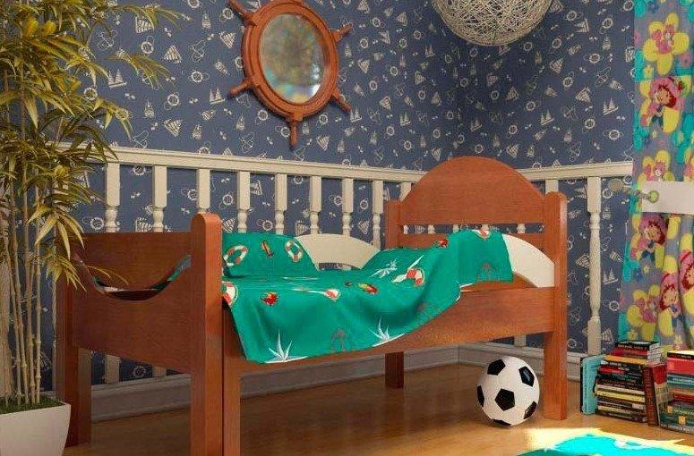Фото деревянной растущей кровати в интерьере детской комнаты
