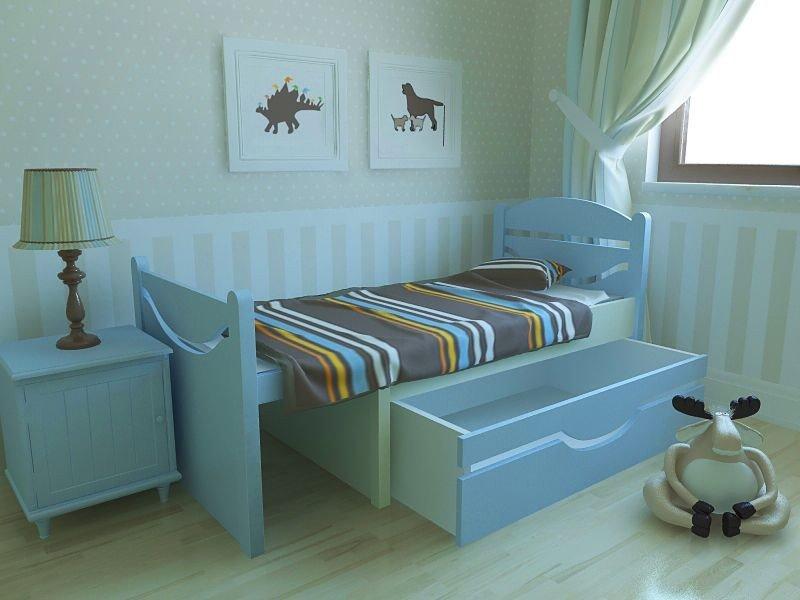 Растущая кровать в детской комнате с ящиком для хранения вещей