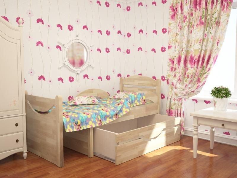 Фото деревянной раздвижной кровати с ящиком
