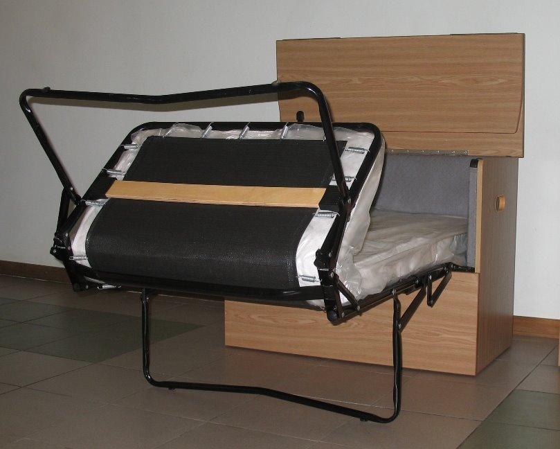 Раскладная тумба-кровать с ламелями и матрасом