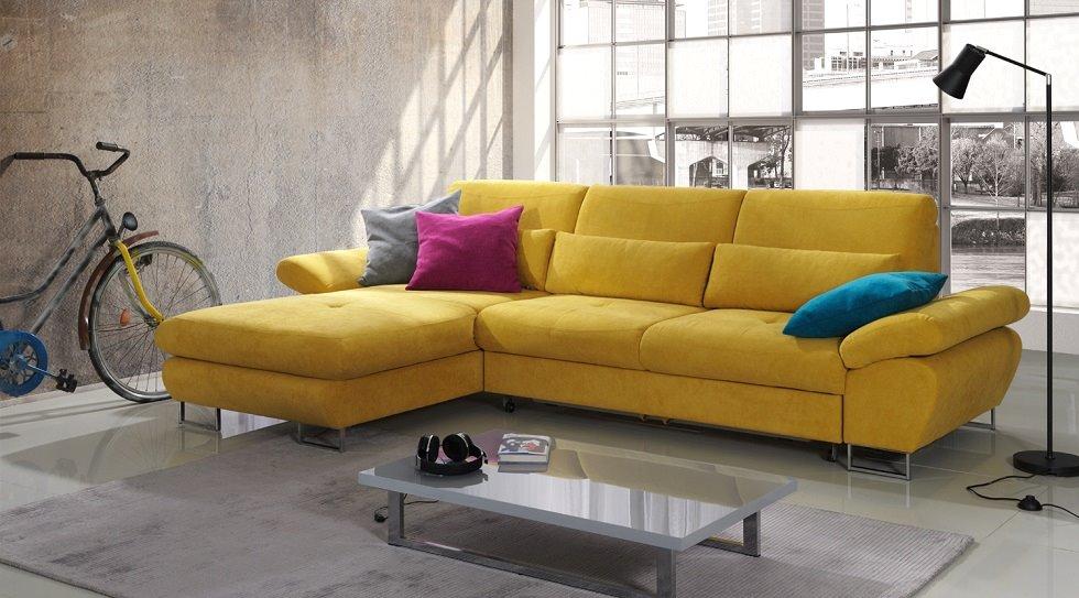"""Желтый угловой диван для ежедневного сна с механизмом """"Дельфин"""""""