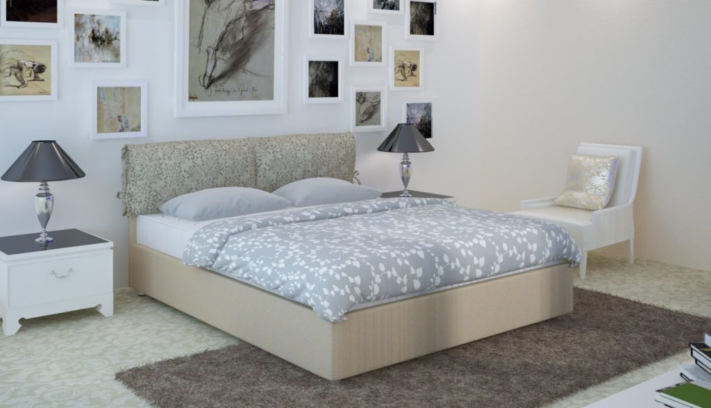 Фото кровати с изголовьем в интерьере комнаты