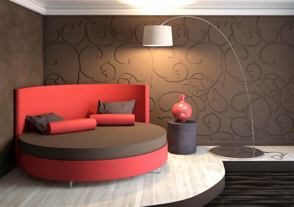 Кровать круглой формы в интерьере