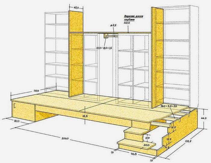 Чертёж подиума со шкафом и выдвижной кроватью