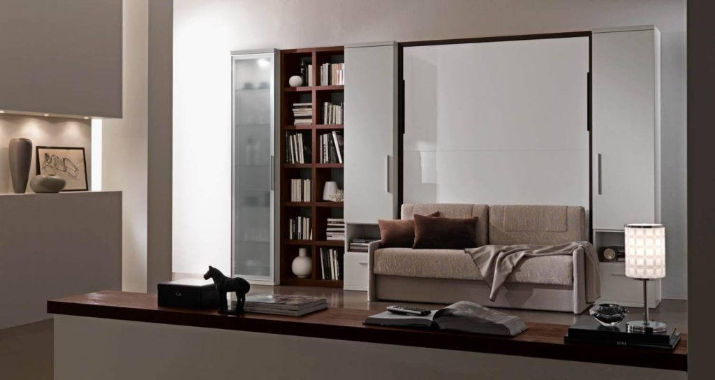 Откидная шкаф кровать 3 в 1 с прямым диваном