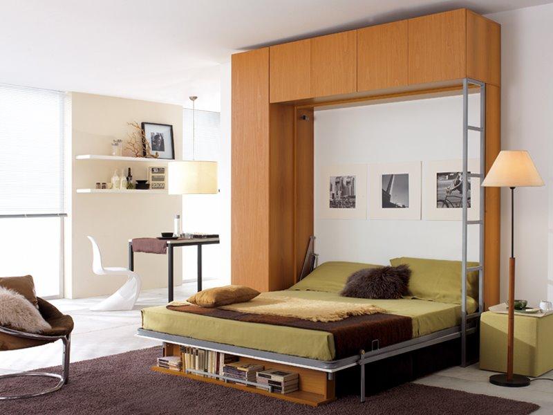 Двуспальная откидная кровать на металлокаркасе с диваном