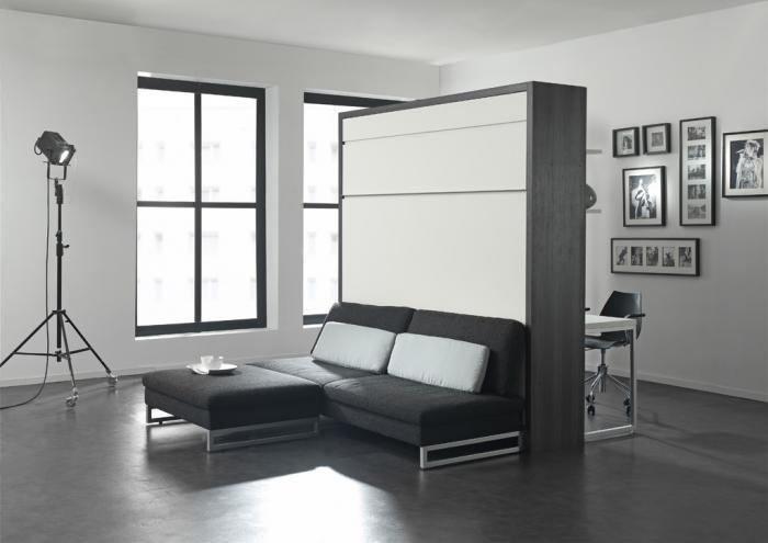Откидная кровать 3 в 1 с модульным диваном на металлическом каркасе