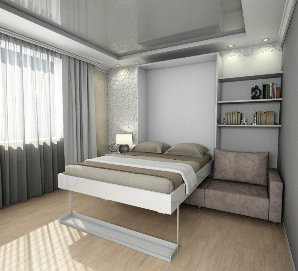 Двухспальная откидная кровать с диваном в разложенном состоянии