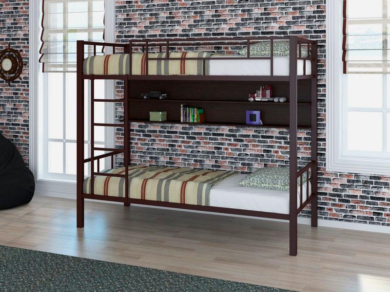 Двухъярусная кровать с металлическим каркасом
