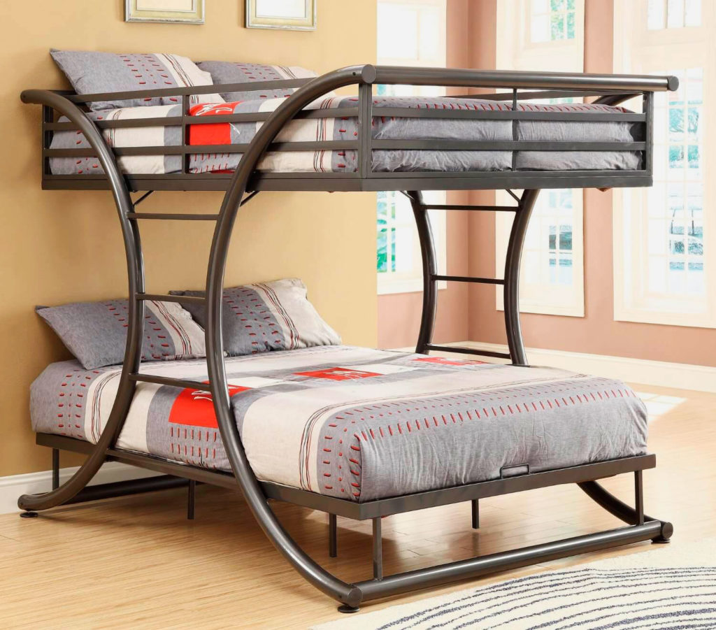 Взрослая двуспальная двухъярусная кровать