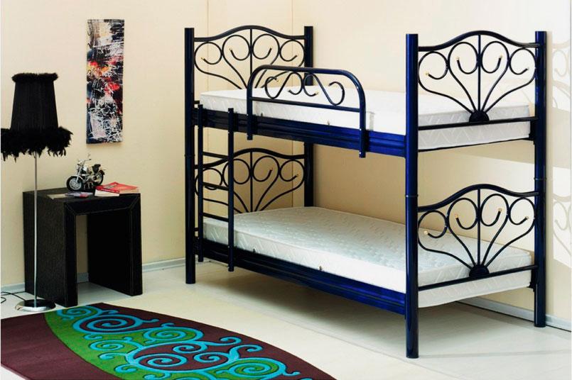 Металлическая двухъярусная кровать с односпальными местами