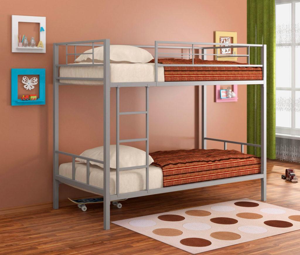 Металлическая двухъярусная кровать для взрослых детей