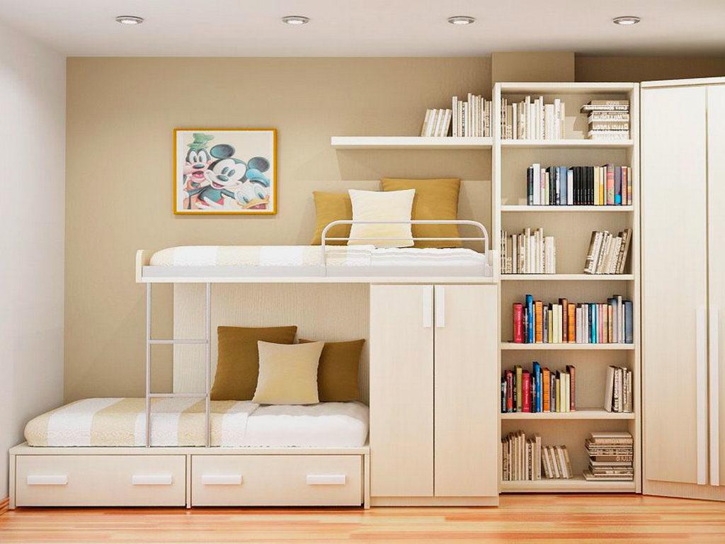 Двухэтажная кровать с книжным шкафом