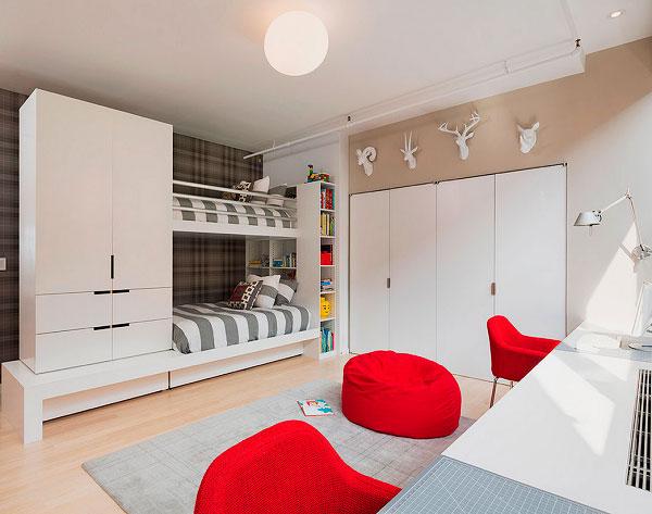 Стильная двухъярусная кровать для подростков со шкафом в интерьере комнаты