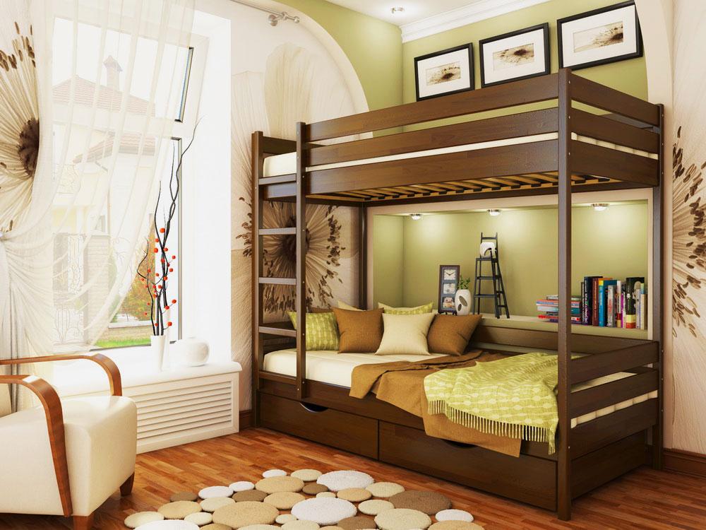 Деревянная двухъярусная кровать для старшеклассников