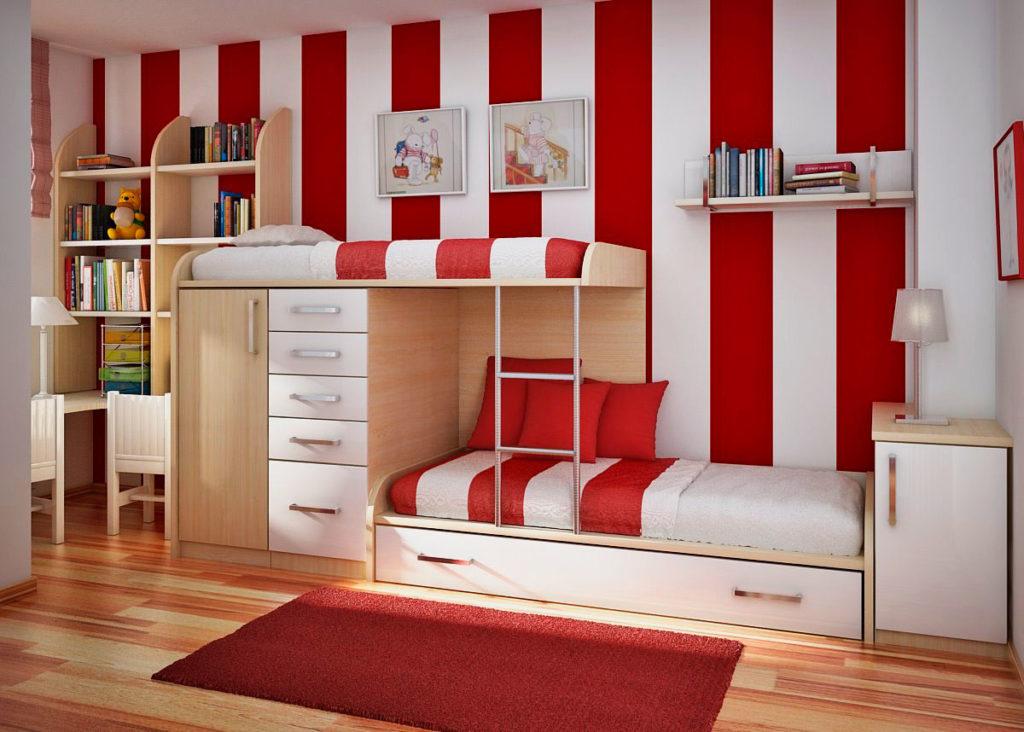 Большая двухъярусная стенка-кровать со шкафами