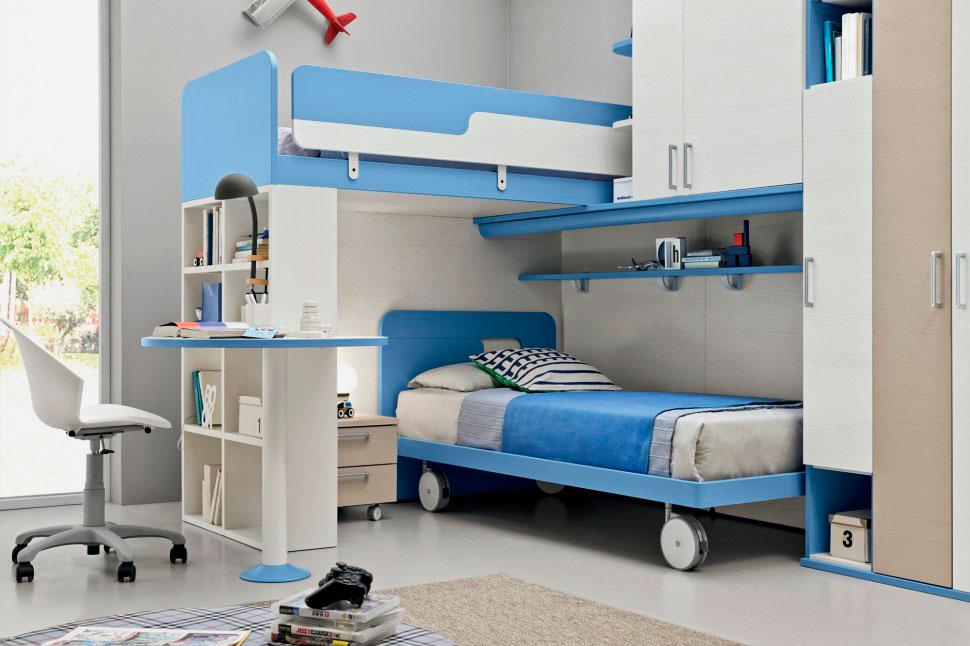 Двухъярусная кровать со шкафами и мобильным нижним спальным местом в комбинированном цвете