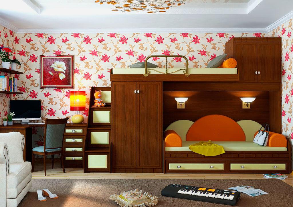 Строгая деревянная двухъярусная кровать с двумя шкафами по боками сверху и снизу
