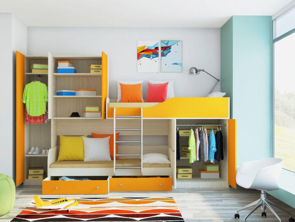 Фото наполнения шкафа двухъярусной кровати в детской комнате