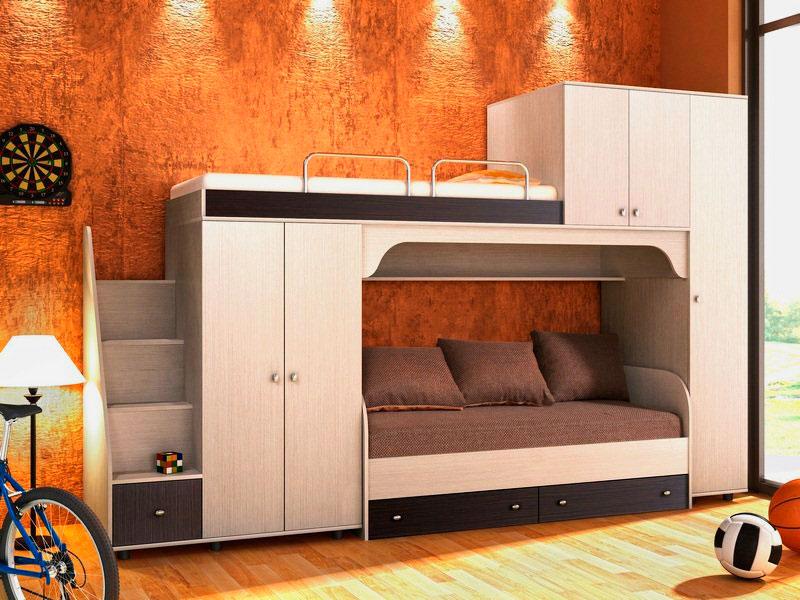 Двухъярусная кровать со шкафом (22)
