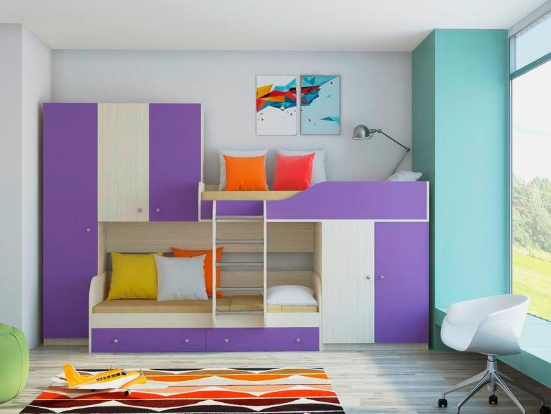 Детская стенка двухъярусная кровать со шкафом