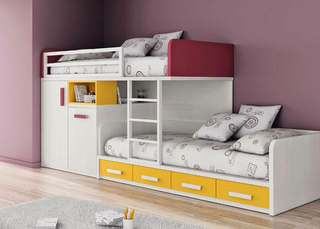 Модель двухъярусной кровати укомплектованной шкафом и выдвижными ящиками