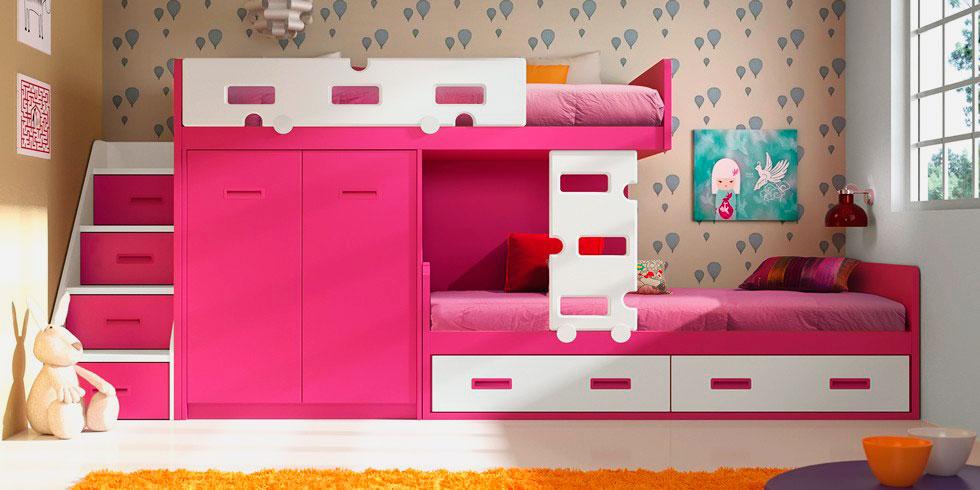 Розовая двухъярусная кровать со шкафами для девочек