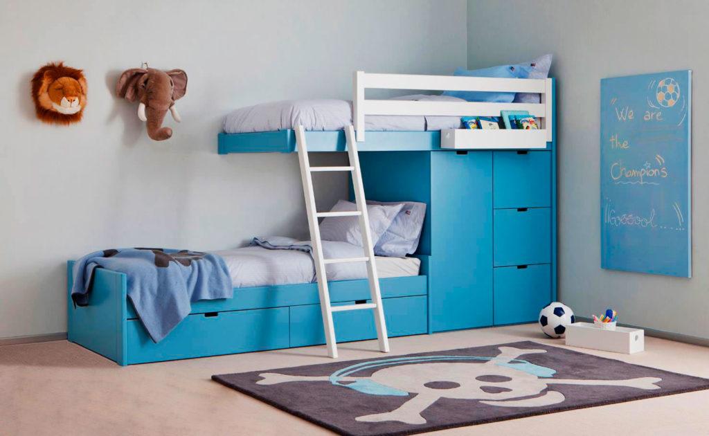 Модель двухъярусной кровати для детей со шкафом