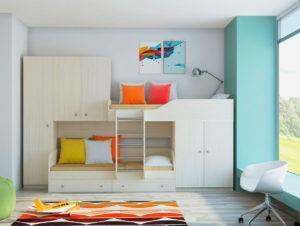 Двухъярусная кровать со шкафом в интерьере детской комнаты