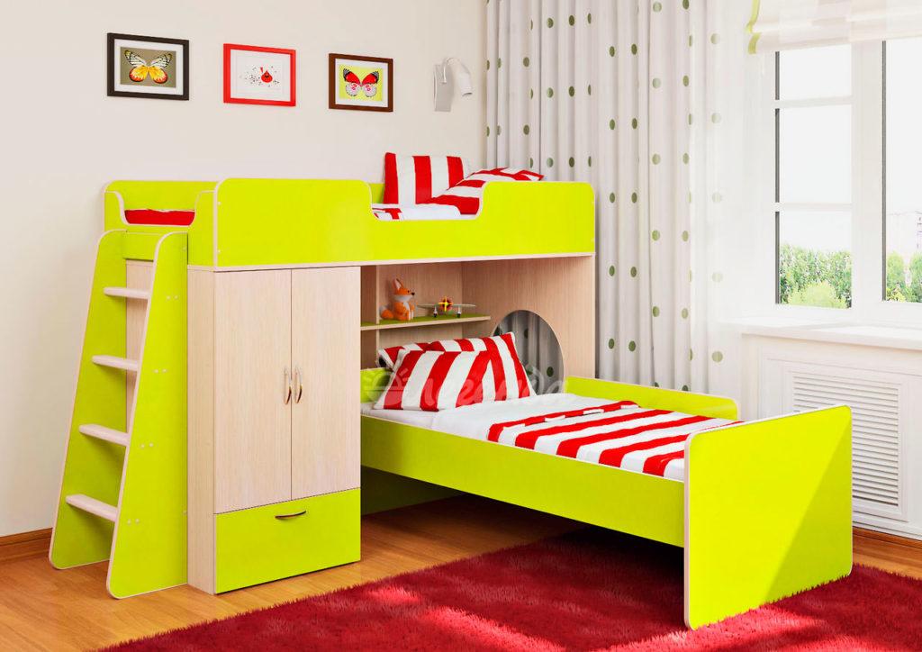 Фото двухъярусной кровати со шкафом с переставным нижним спальным местом