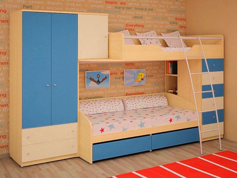Двухъярусная кровать со шкафом (39)