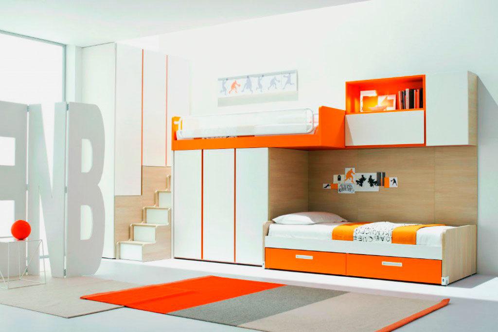 Модель двухэтажной кровати со шкафами