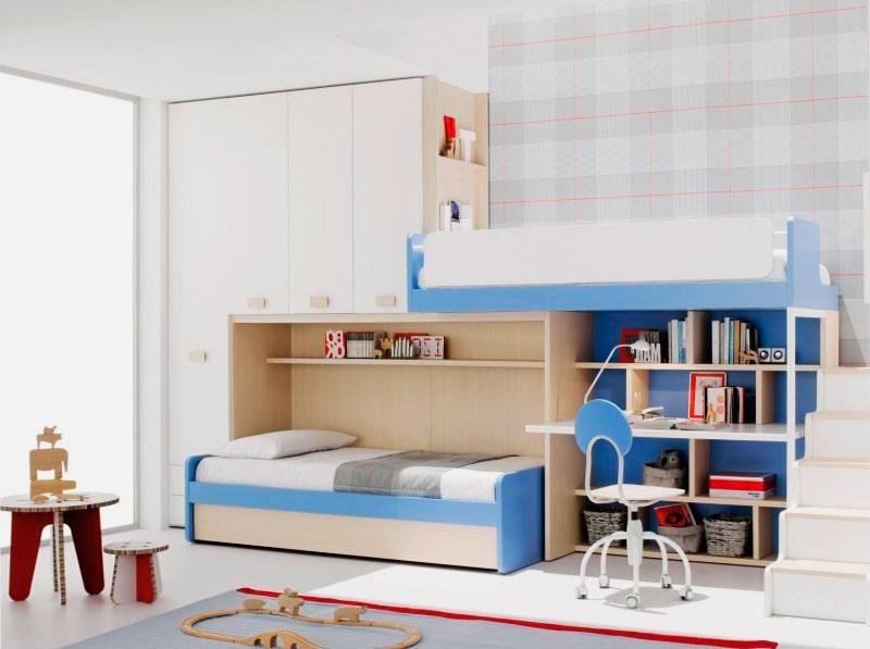 Двухъярусная кровать со шкафами и рабочей зоной