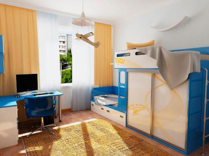 Двухъярусная кровать со шкафом купе