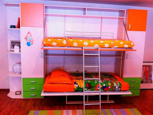 Детская двухъярусная кровать-трансформер в шкаф