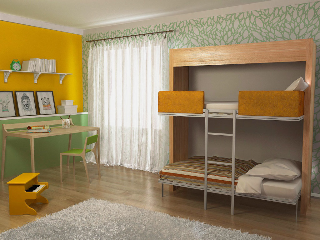 Фото двухъярусной шкаф-кровати для детей