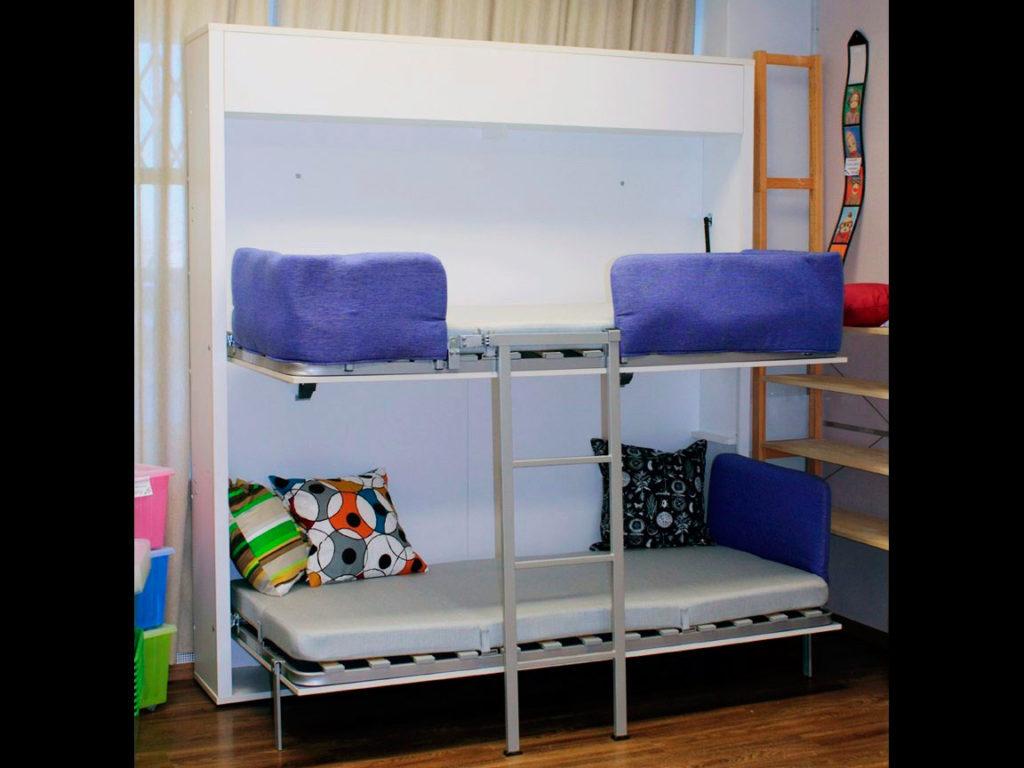 Двухъярусная кровать трансформер шкаф