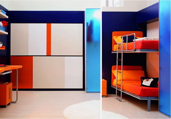 Двухъярусные кровати трансформирующиеся в шкаф