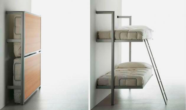 Откидная двухэтажная кровать трансформер с металлическим каркасом