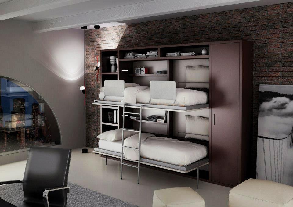 Двухъярусная откидная кровать встроенная в шкаф