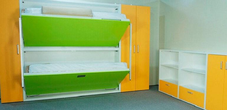Двухъярусная откидная шкаф-кровать трансформер (22)