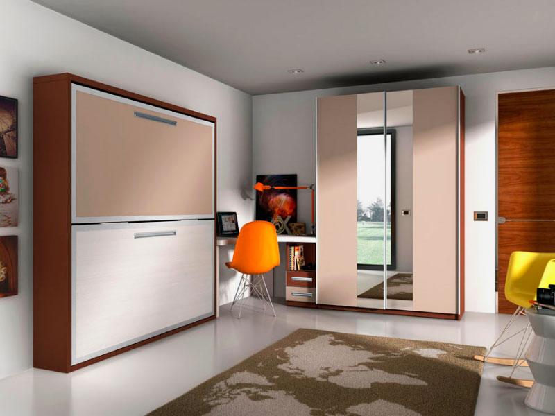 Двухъярусная шкаф-кровать в интерьере комнаты