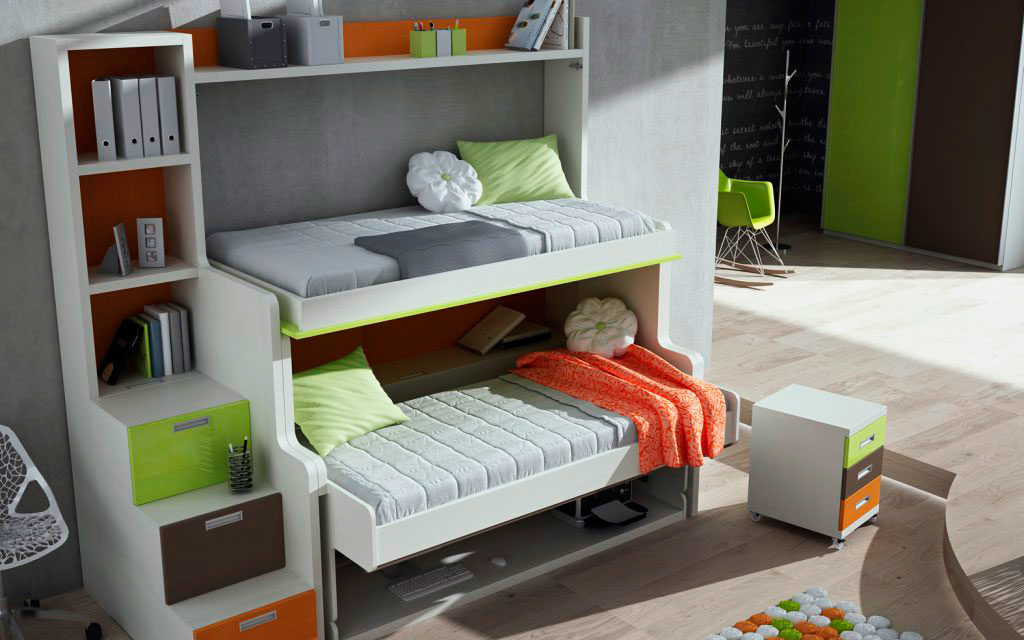 3 в 1 двухъярусная шкаф-кровать со столом