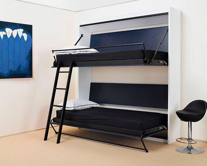 Шкаф со встроенной двухъярусной кроватью трансформером