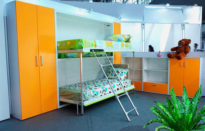 Фото мебели для детской комнаты с двухъярусной шкаф-кроватью