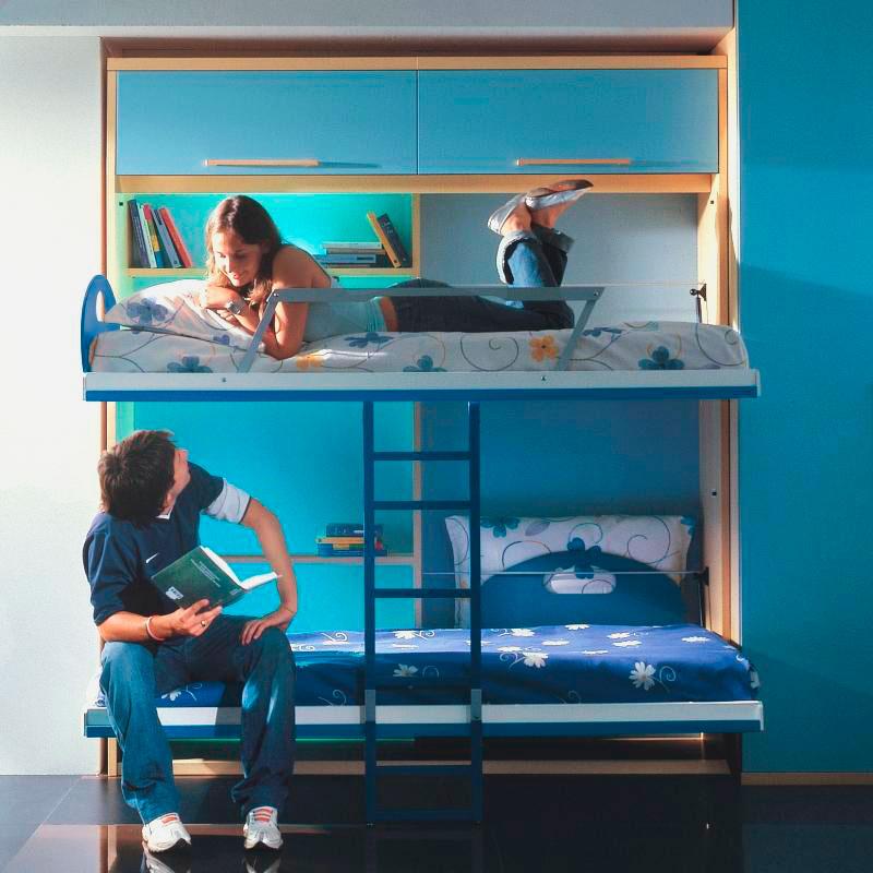 Двухъярусная откидная шкаф-кровать трансформер (34)