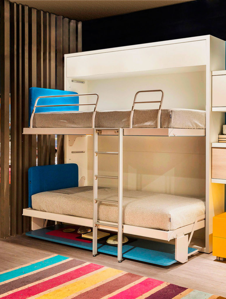 Фото двухэтажной кровати трансформера со столом внизу